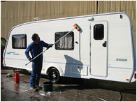 Washing a caravan before it goes into storage